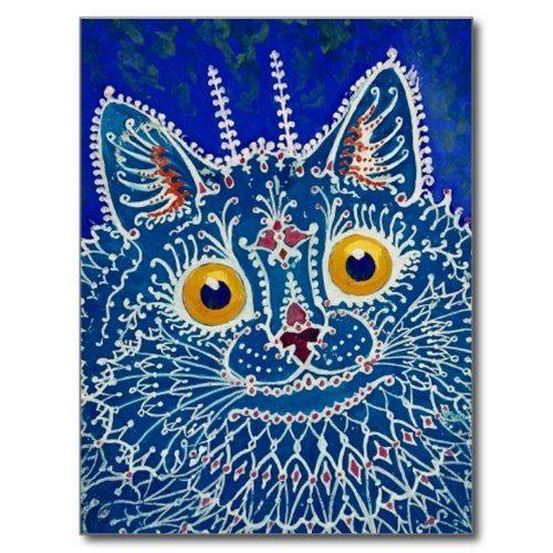 Blaue Katze durch Louis Wain Postkarte   Zazzle