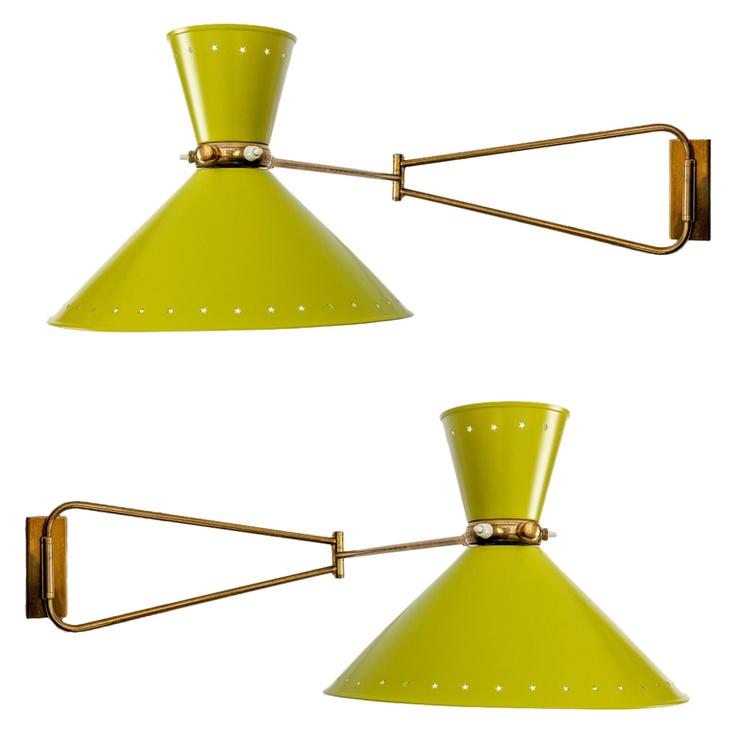 Pair Of French Articulated Wall Lights By Rene Mathieu France C 1960 With  Brass Arms,