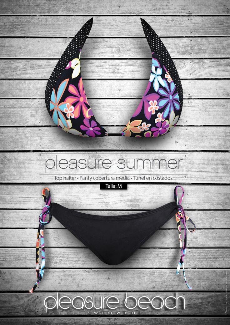 Pleasure summer   Top halter-panty cobertura media-tunel en costados