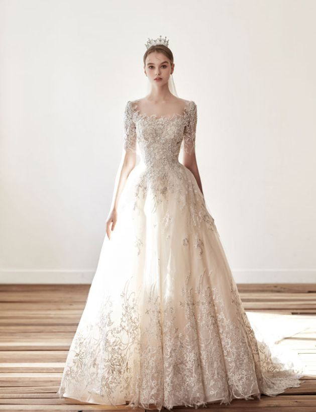 This Vintage Inspired Wedding Gown From Jubilee Bride Featuring Delicate Lace Detailing And A Classic Silhouette Is Hard To Resist Wedding Dresses Lace Wedding Dresses Blue Lace Wedding Dress