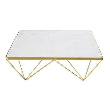 Fancy Quadratischer Couchtisch aus Marmor und goldfarbenem Metall Gatsby