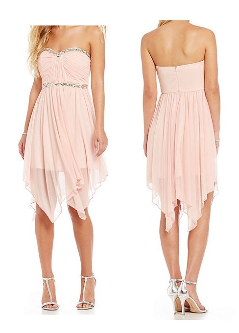 short, pink, draped dress. I really don't like those heels though. (Homecoming)