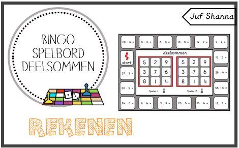 Juf Shanna: Rekenen: bingo spelbord deelsommen (tafels 1 t/m 5...