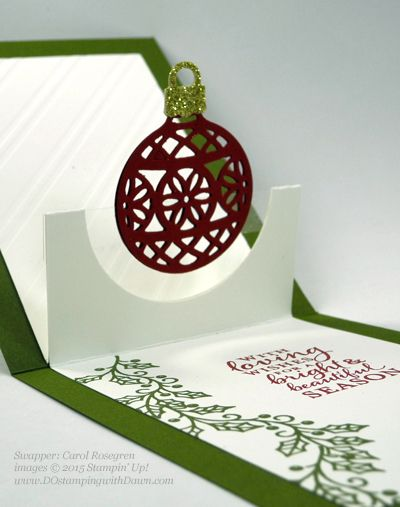 inside view of Christmas pop-up card ... luv the floating ornament ...