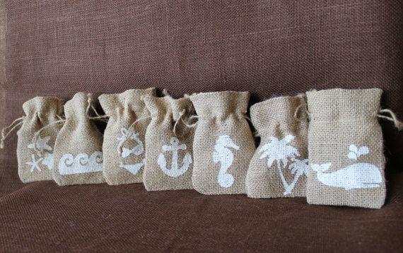 Small burlap bag Beach wedding favor.  Custom Ocean Theme Burlap bags. Bikini, seahorse, anchor, palm tree, whale, starfish, waves.