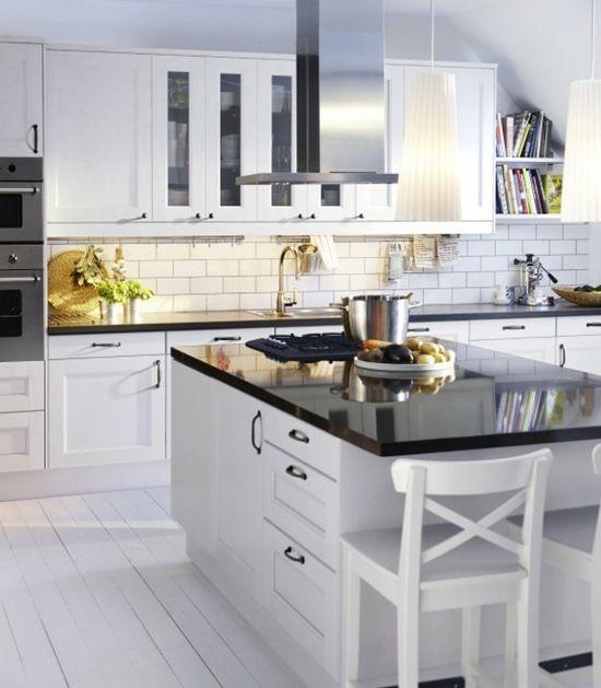 Ikea Black Kitchen Cabinets: White Ikea Kitchen, Black Counters