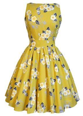 Yellow Floral Tea Dress ...what a little cream puff ♥