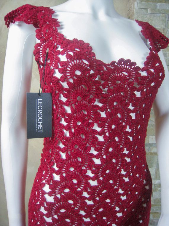 Exclusive vinous crochet lace dress, crochet party dress, lace dress for a special occasion - the finished product in a single original