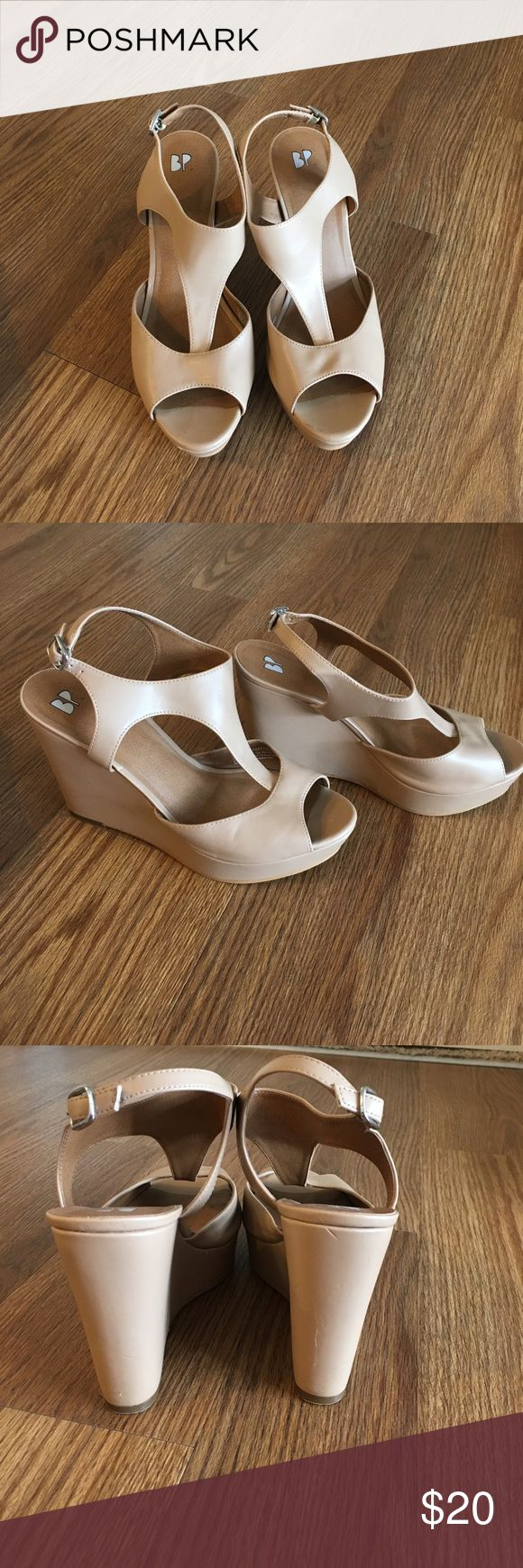 Cream wedges BP cream wedges from Nordstoms. Worn once for a wedding! Really comfortable to wear! And run true to size bp Shoes Wedges