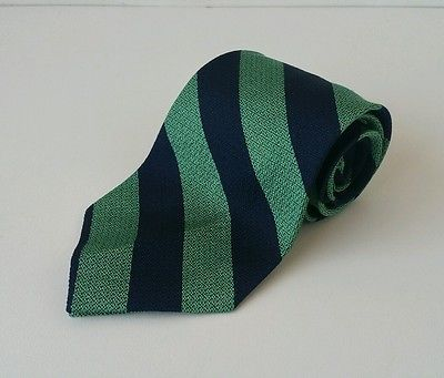 Polo by Ralph Lauren Dress Tie Green & Dark Blue Stripes Made in USA 100% SILK