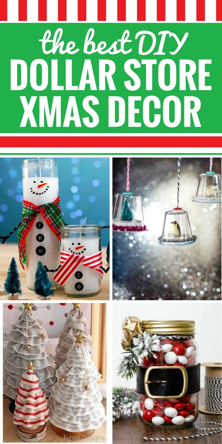 Regardless of your budget, you're going to love these DIY Dollar Store Christmas Decor ideas. From vintage to rustic and everything in between, these easy and cheap DIY decor crafts will have every room in your home decorated for the holidays. Wreaths, centerpieces, ornaments and even ideas to give as gifts.