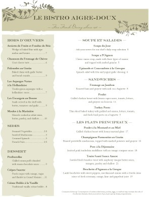 Bistro french menu template diy main street ideas for French cafe menu template