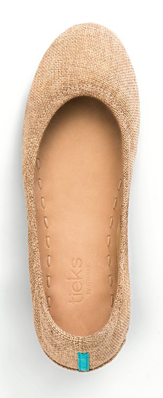 Embrace Au Naturel in sandy Brentwood Vegan Tieks! These beautiful flats are the perfect nude-colored accessory to any outfit. | Tieks Ballet Flats