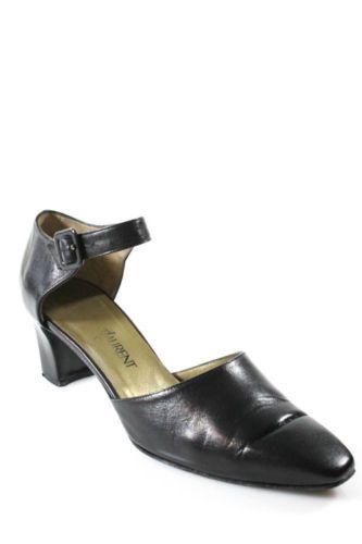 VINTAGE YVES SAINT LAURENT Black Leather Ankle Strap Almond Toe Pumps Heels 8.5