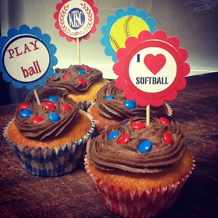 Softball Cupcake Toppers