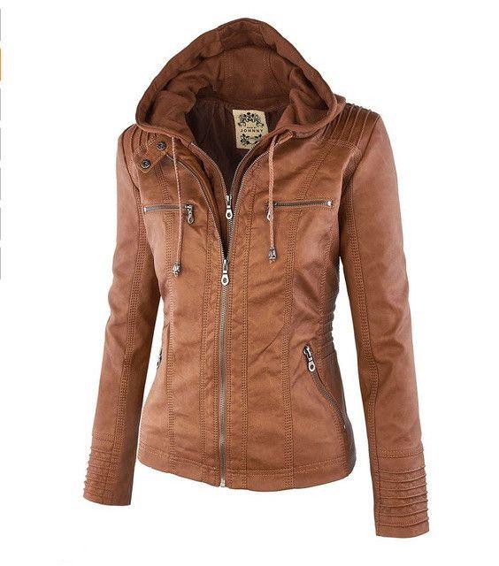 New 6XL Removable Hat Fake Two Coat Plus Size Leather Jacket Women slim Female Leather Outerwear Large Size Ladies Bomber Jacket