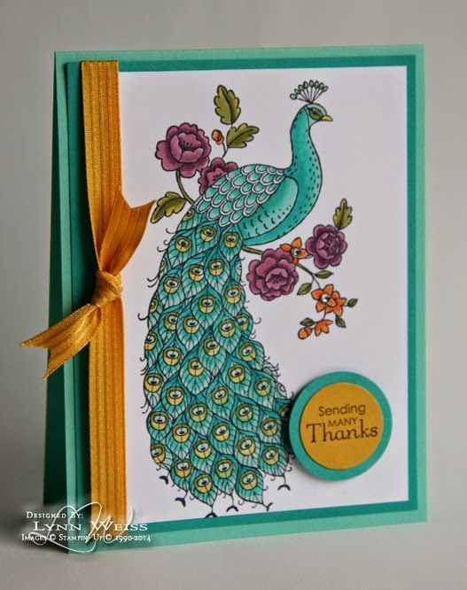 handmade card from LW Designs: Perfect Peacock ... gorgeous coloring and shading  with Blendabilities on this line art image ... like how the cardstock and ribbon colors match the coloring ... beautiufl card .... Stampin'Up!