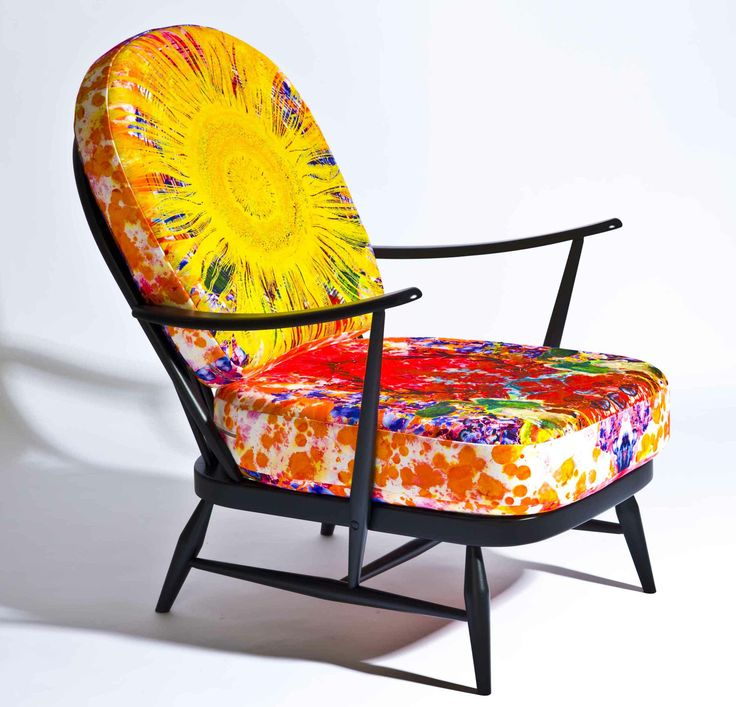 """Ercol have been asked to take part in Heliotropique at Maison et Objet on 24- 28 Jan '14.  They have a special """"sunburst"""" version of the 206 Windsor armchair sporting reversible cushions with fabric by Timorous Beasties."""