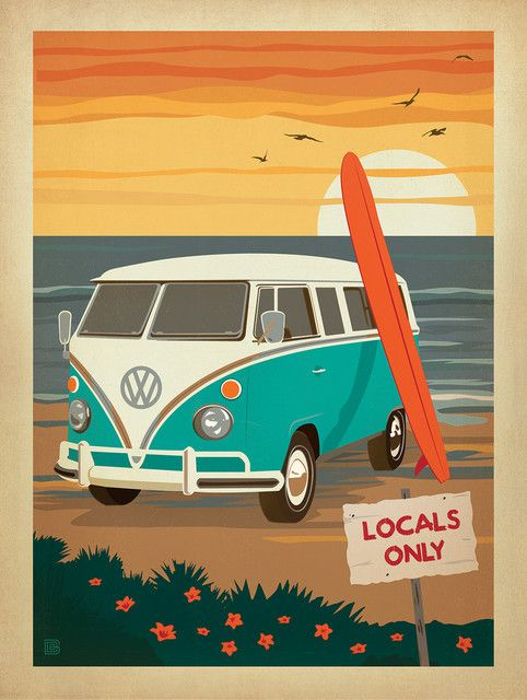 I like this design due to the warm and summer-like colours used within the poster. There isn't much font at all except from the sign, but it still draws your eye to the main focus. I found the sunset behind the van and the beach-water very appealing and found it inspiring for my own design. The strong use of lines and colour are what makes this poster have that summer vibe and look appealing to the eye of the viewer.