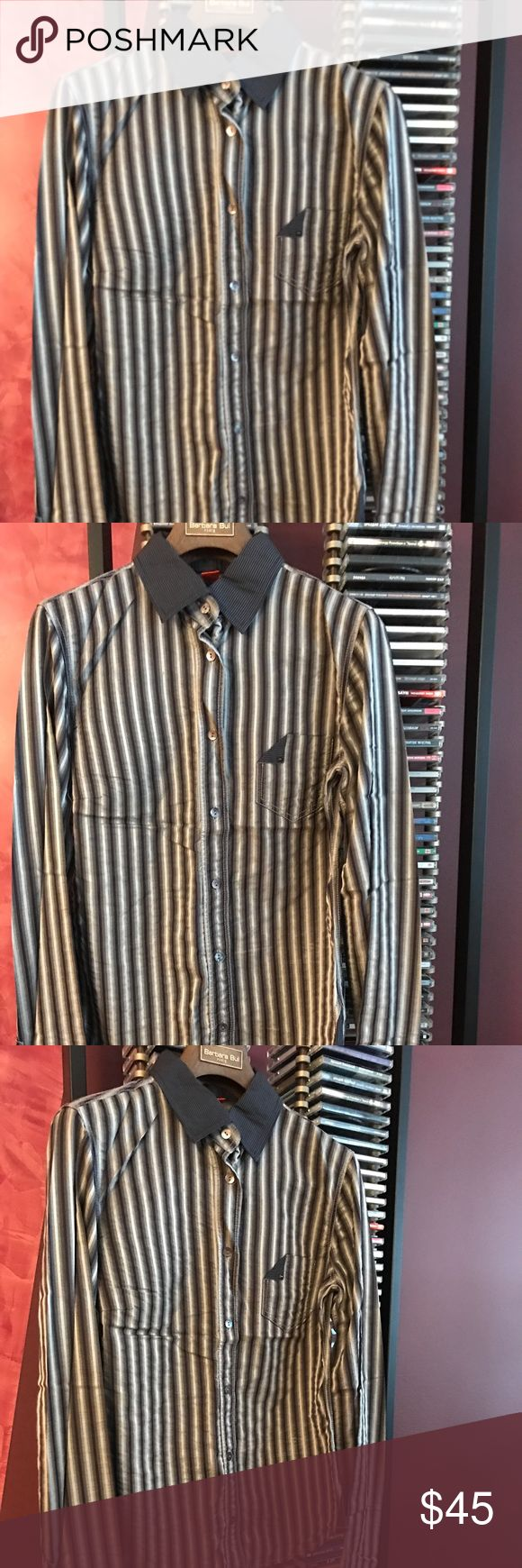 """Hugo Boss Fitted Button Down Long Sleeve Shirt Boss by Hugo Boss Stripe Shirt Size S Perfect condition with absolutely no damages, but may have been worn on one or two times. Fitted Button Down Long Sleeve Shirt Fabric Content: 69% Cotton 31% Viscose USA Size Small Shoulder to Shoulder 15""""  Armpit to Armpit 17""""  Sleeve 25"""" Waist 16"""" Length 23"""" BOSS ORANGE Tops Button Down Shirts"""