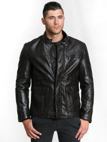 Pánská koženková zimní bunda s kapsami STYLER - hnědá