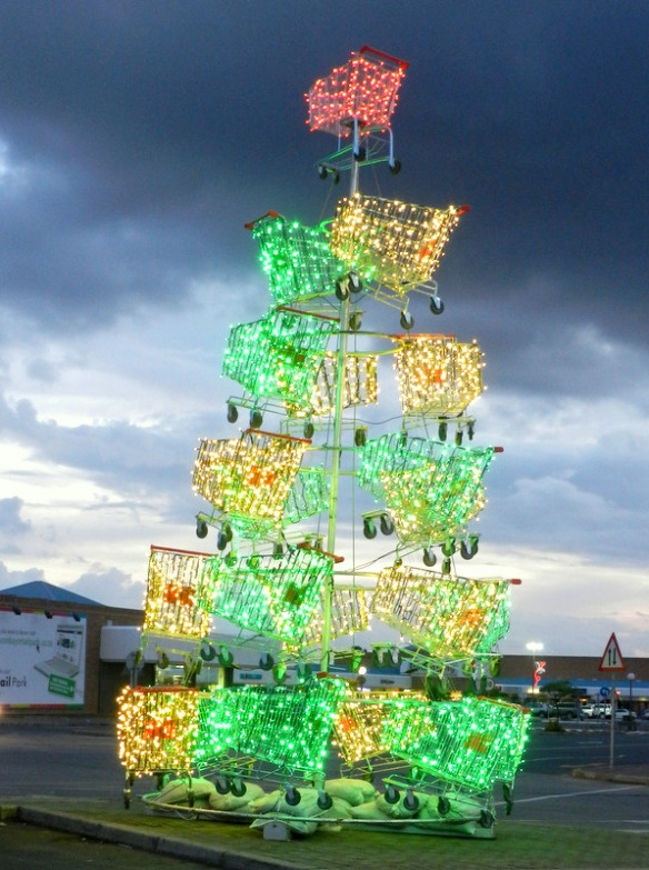 The same shopping trolley Christmas tree at an East London South Africa shopping mall, at night.