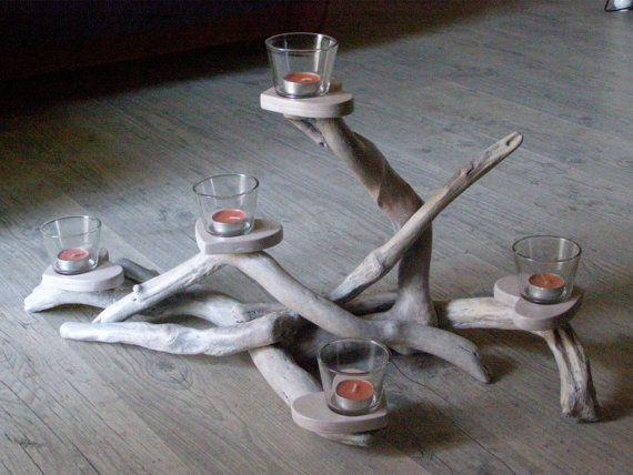 Driftwood Centerpiece candle holder five positions Wedding centerpiece.