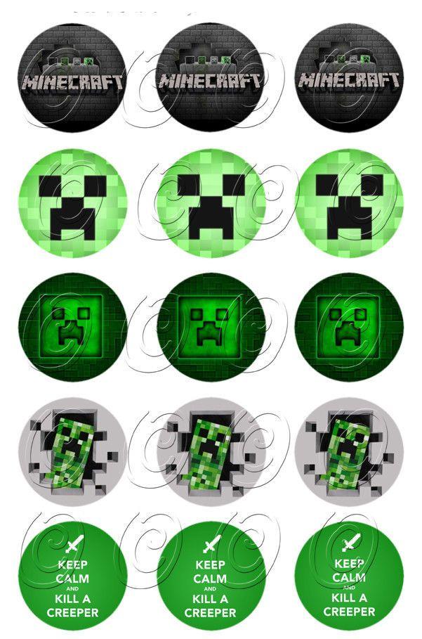 15+Minecraft+Creeper+Edible+Topper+Birthday+Cupcake+Image+Uncut+Decoration+