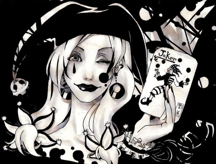 Joker chica en blanco y negro...