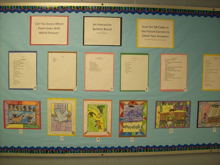 QR codes art and poetry bulletin board idea