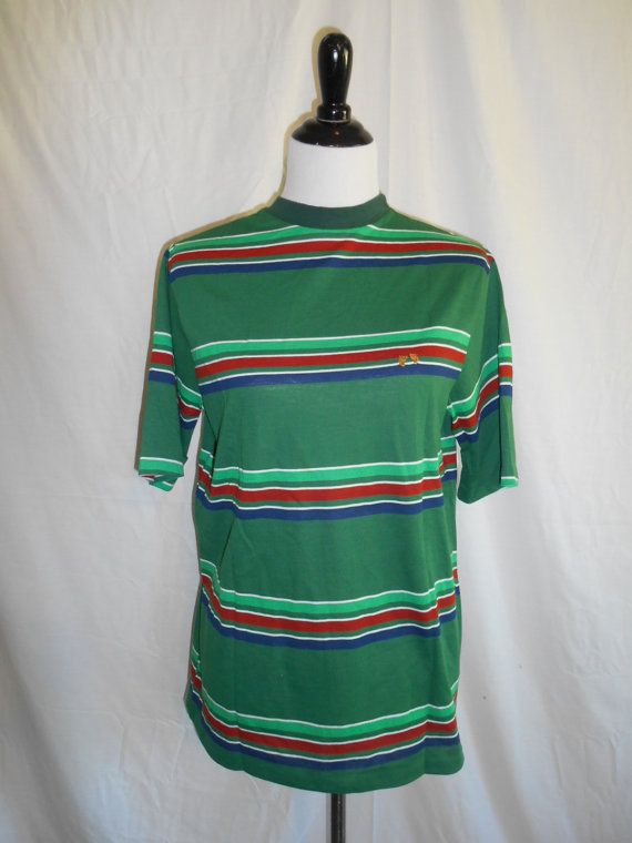 Vintage HANG TEN t shirt Striped t shirt 70s by ATELIERVINTAGESHOP