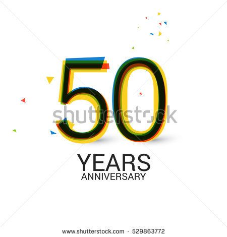 50 0Years Anniversary. Layered and Colorful. Logo Celebration Isolated on White Background