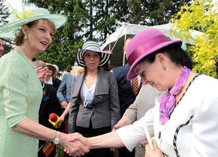royalhats:  Romanian Princesses Host Garden Party at the Elisabetha Palace, Bucharest, Romania, May 15, 2014-Crown Princess Margareta