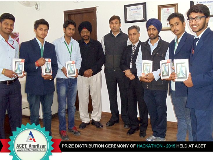 The #prize #distribution ceremony of #HACKATHON - 2015 was recently held at #ACET.  Dr. V K Banga (Principal, ACET) along with Mr.Gaurav Tejpal (Dean & Head , DME) and Mr. P S Sidhu (Dean & Head, Civil) distributed #Tablets to the #winning #Team of HACKATHON.