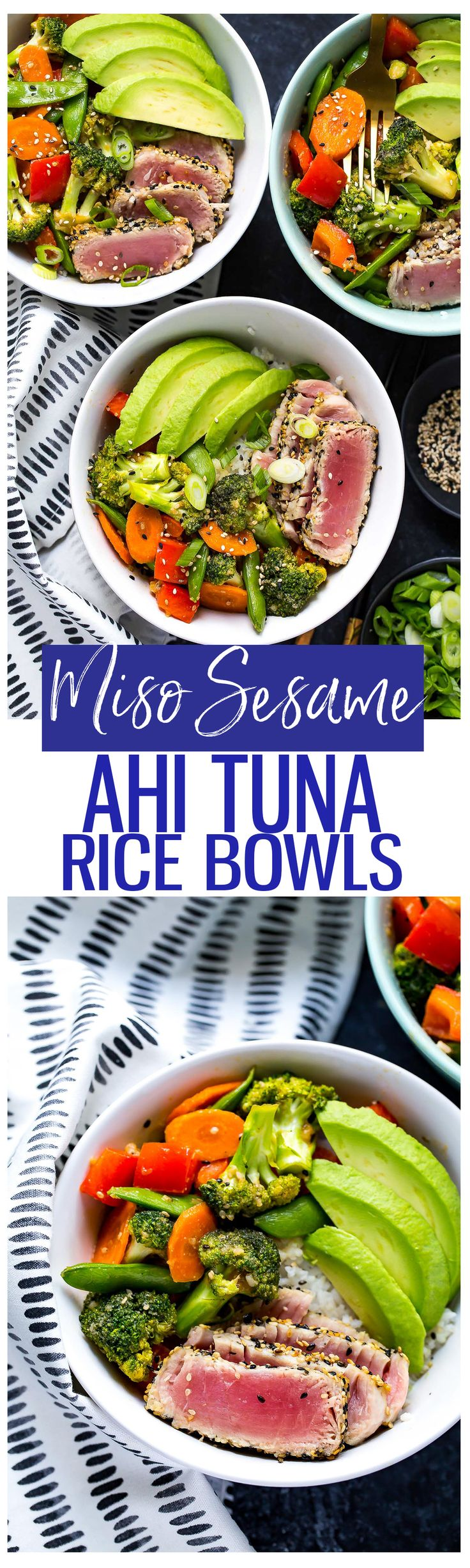 Miso Sesame Tuna Rice Bowls are a yummy spin on the weeknight stirfry, filled with seared ahi tuna, stir fry veggies in a savoury miso sauce, jasmine rice and sliced avocado!
