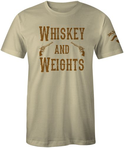 High quality Poly/Cotton Tee with a Vintage Old West feel.  Whiskey, weights and guns with a special Doc Holiday Mustache print on the sleeve (Box Junkie).