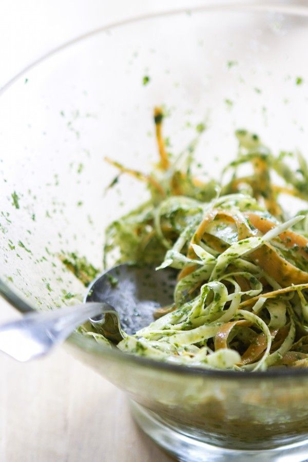 Pesto-Coated Carrot and Parsnip Fettucini via A Thought For Food - www.athoughtforfood.net