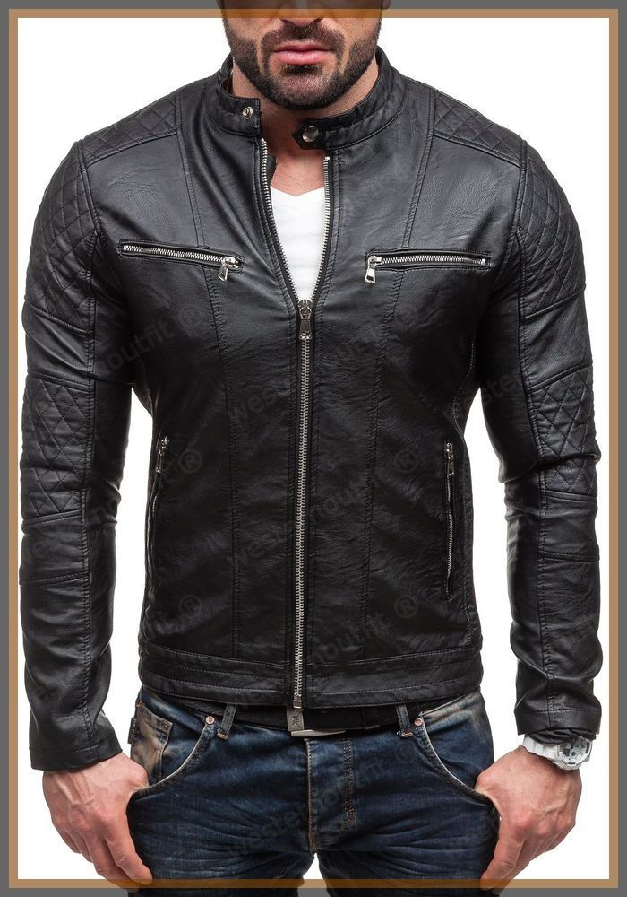NEW STYLE LAMBSKIN BLACK LEATHER BOMBER JACKET BIKER MOTORCYCLE JACKETS FOR MEN #WesternOutfit #Motorcycle