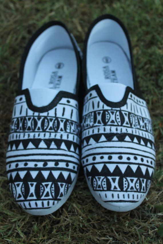 Custom Hand Painted Tribal Shoes by TKLCustomCreations on Etsy
