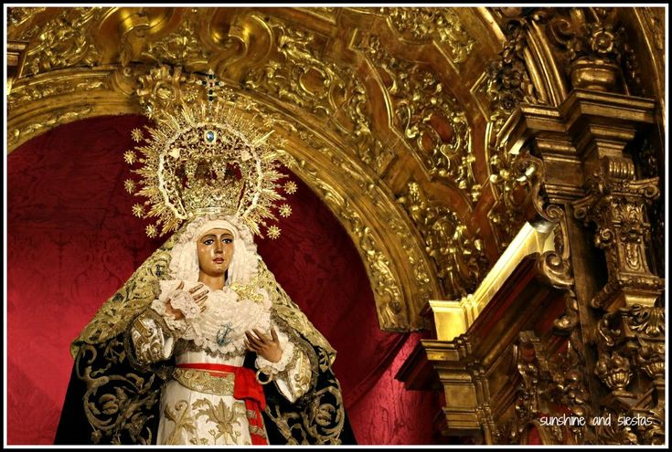Virgin de la Esperanza of Triana in her temple. During Easter Week, from Viernes de Dolores to Resurrection Sunday, scenes depicting the passion, death and resurrection of Christ are parade around Seville, Spain, in one of the world's most fervent traditions.