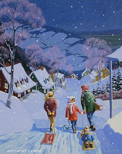 Rémi Clark, 'Profiter de la neige', 24'' x 30'' | Galerie d'art - Au P'tit Bonheur - Art Gallery