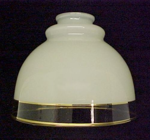 """Clear Glass Cream Light Shade with Gold Trim. Compatible with Chandelier, Wall Sconce, Ceiling Fan or Pendant Light Fixture. 2 1/4"""" fitter."""