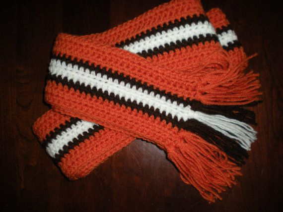 Cleveland Browns style scarf by TimelessMemoriesBySC on Etsy, $20.00