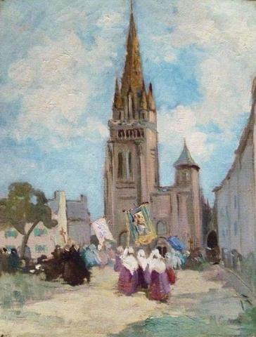 """CANET Marcel (1875-1959) """" Au pardon du Folgoët """" Huile sur toile"""