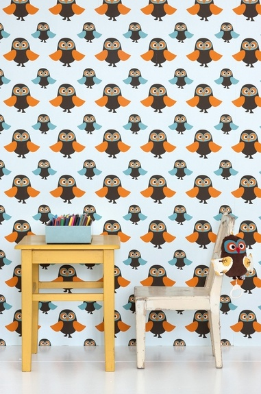 owl wall paper. definitely a must have for an owl themed room!