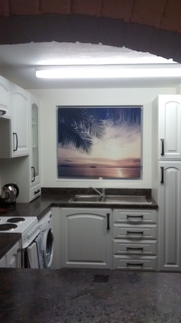 RB71 tropical roller blind in situ. http://www.artfeverblinds.co.uk/shop/4584760444/rb73---palm-tree-view-at-sunset-tropical-photo-roller-blind/8413707