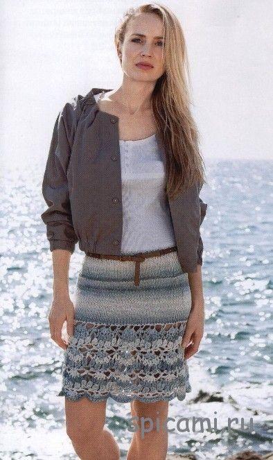Вязаная юбка с ажурным краем