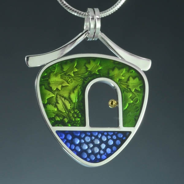 PMC, sterling silver and colored epoxy resin pendant. $175.00, via Etsy.