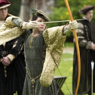 Clare Foy as Anne Boleyn filming Wolf Hall at the Hospital of St Cross Winchester, copyright Company Pictures / Playground Entertainment for BBC