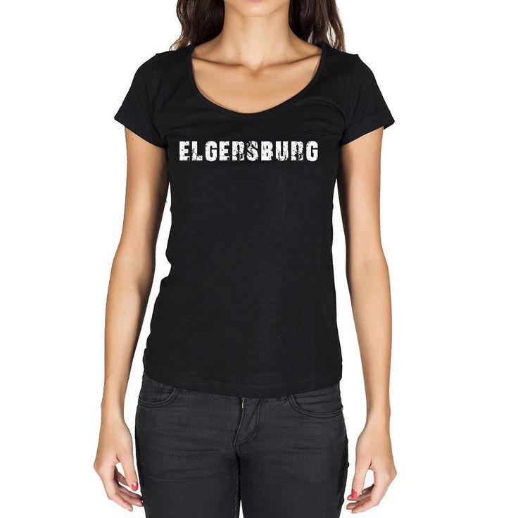 elgersburg, German Cities Black, Women's Short Sleeve Rounded Neck T-shirt 00002